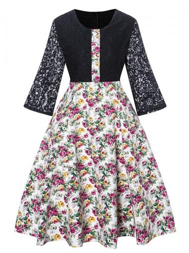Lace Sleeves Floral Patchwork Vintage Black Dress