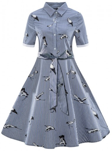 Plus Size Animal Print Lapel Half Sleeves Vintage Shirt Dress