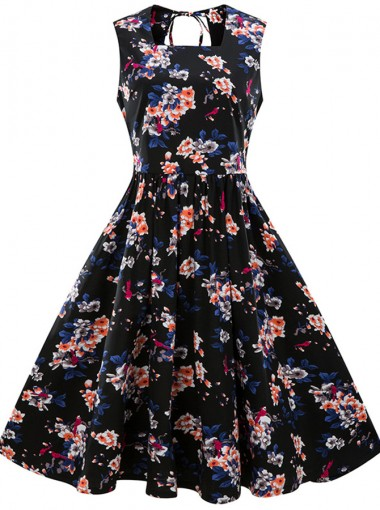 Plus Size Floral Square Neck Open Back Vintage Swing Dress