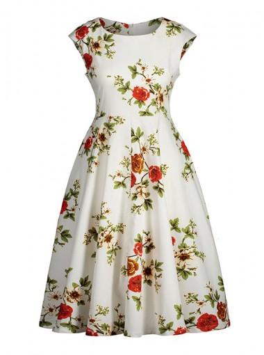 Floral Round Neck Cap Sleeves Plus Size Vintage Dress