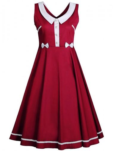 Peter Pans Collar Bow Burgundy Plus Size Vintage Dress