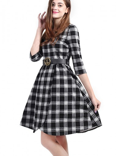 Plaid Round Neck 3/4 Sleeves Belt Grey Vintage Shirt Dress