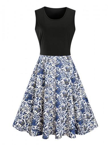 Floral A-Line Round Neck Multi Color Vintage Dress