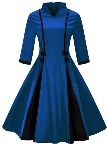 Vintage V-Neck 3/4 Sleeves Royal Blue Plus Size Dress
