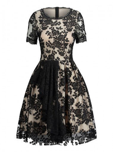 Lace Round Neck Short Sleeves Vintage Black Lace Dress