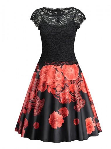 Floral Round Neck Cap Sleeves Black Vintage Sundress