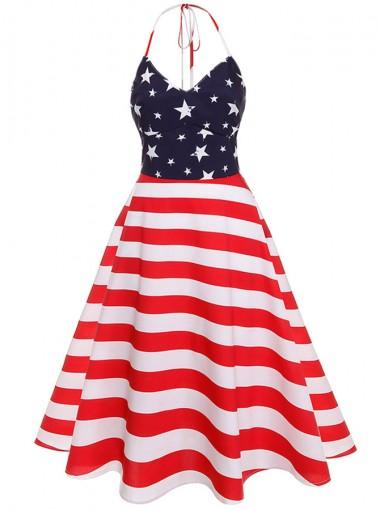 Halter Star Striped 4th of July Vintage Dress