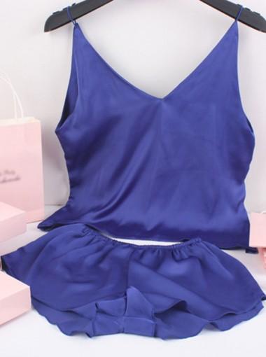 V-neck Sleeveless Royal Blue Pajamas with Shorts