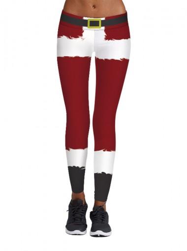 Dark Red Stretch Full Length Fleece 3D Printed Christmas Leggings