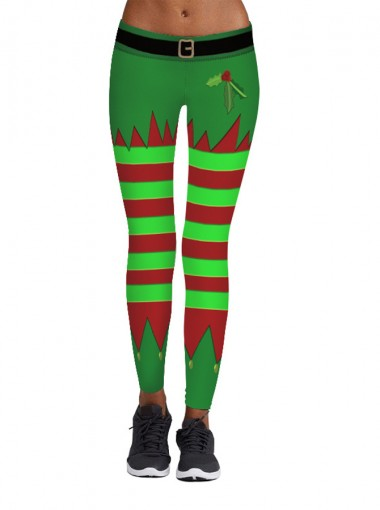 Green Stretch Full Length 3D Printed Christmas Berry Legging