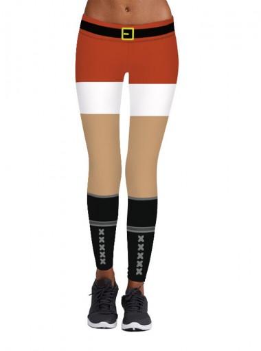 Multi Color 3D Printed Color Block Women's Christmas Legging