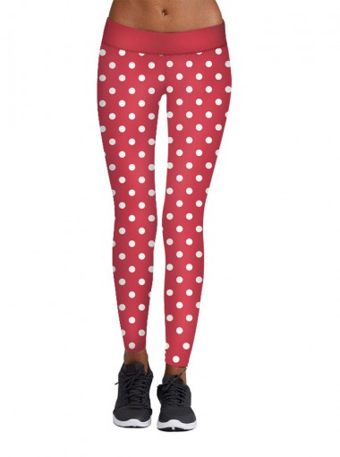 Red 3D Printed White Dots Polyester Women's Christmas Legging