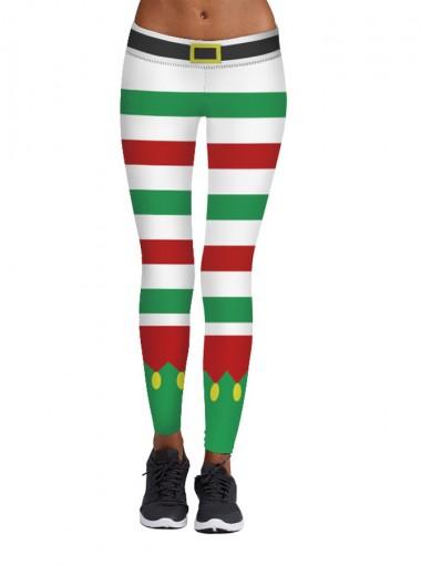Multi Color 3D Printed Women's Spandex Christmas Legging