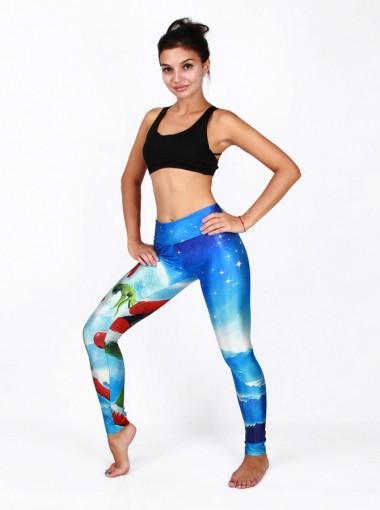 Multi Color 3D Printed Santa Christmas Women's Spandex Legging