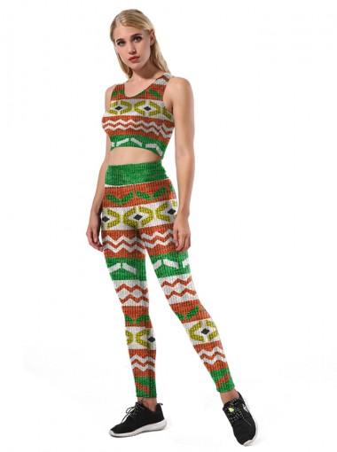 Multi Color 3D Printed Striped Christmas Women's Spandex Legging Set