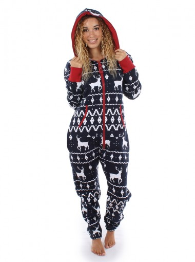 Navy Blue 3D Printed Reindeer Christmas One Piece Pajama