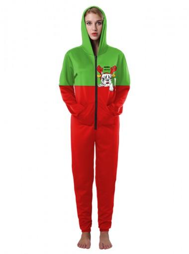 Red Long Sleeves Pug Printed Plaid Family Christmas Pajama