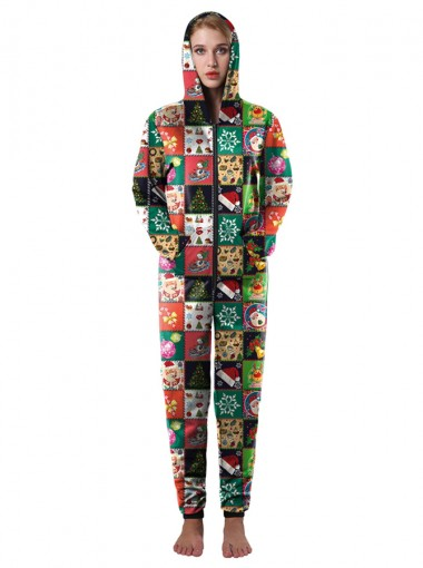 Multi Color 3D Printed Ornament Womens Christmas Pajama Set
