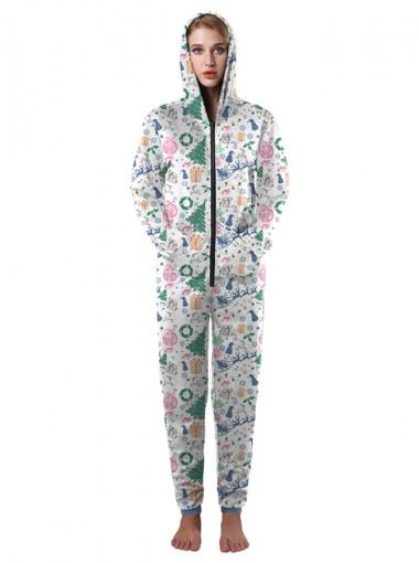 Grey Stretch Full Length Fleece Ornament Printed Christmas Pajama