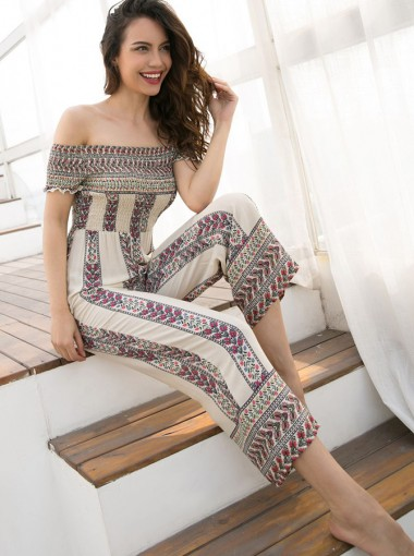 Off the Shoulder Printed Wide Leg Cropped Jumpsuit