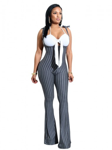 Scoop Neck Bowknot Stripe Grey Backless Jumpsuit Pants