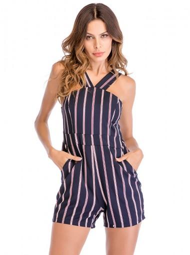 V-Neck Pockets Stripe Navy Blue Romper Shorts