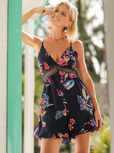 V-Neck Open Back Navy Blue Floral Dressy Romper