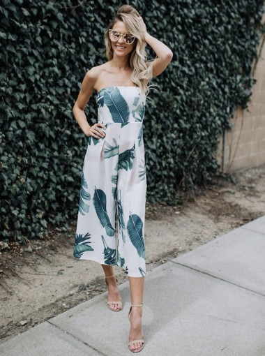 Leaf Print Strpless Wide Leg Cropped Jumpsuit
