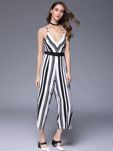 Deep V-Neck Backless Stripe Black and White Jumpsuit