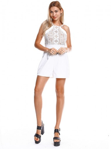 Round Neck Lace Patchwork White Jumpsuit
