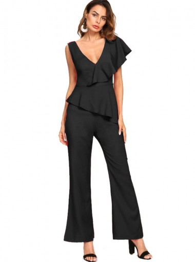 V-Neck Ruffles Black Evening Jumpsuit