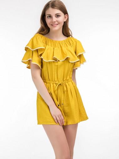 Off the Shoulder Tie Waist Ruffles Yellow Jumpsuit