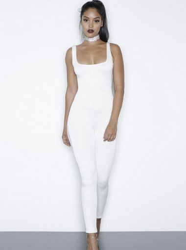 Scoop Neck All in White Fitted Yoga Jumpsuit