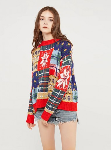 Multi Color Crew Neck Long Sleeves Snowflake Printed Christmas Sweaters