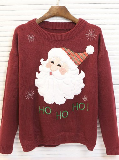 Burgundy Crew Neck Santa Printed Funny Christmas Sweaters