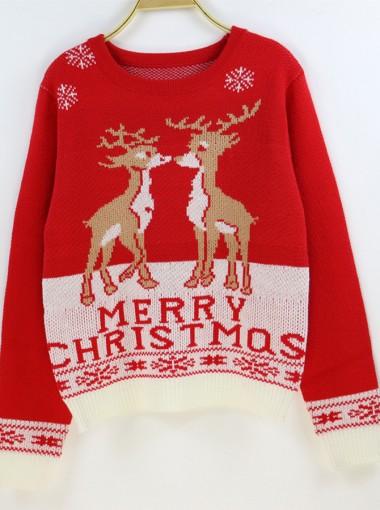 Red Crew Neck Long Sleeves Reindeer Printed Ugly Christmas Sweaters