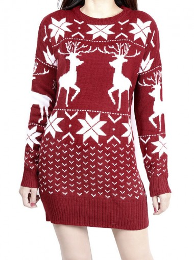 Burgundy Crew Neck Reindeer Printed Long Christmas Sweaters