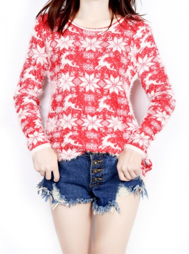 Red Crew Neck Long Sleeves Snowflake Chenille Christmas Sweaters