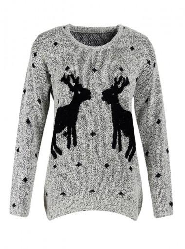 Reindeer Printed Long Sleeves Grey Ugly Christmas Sweaters
