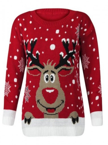 Red Round Neck Long Sleeves Santa Printed Ugly Christmas Sweaters