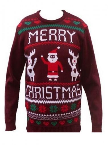 Black Crew Neck Reindeer Printed Christmas Womens's Ugly Sweaters