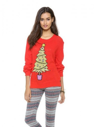 Red Round Neck Tree Printed Trendy Chenille Christmas Sweaters