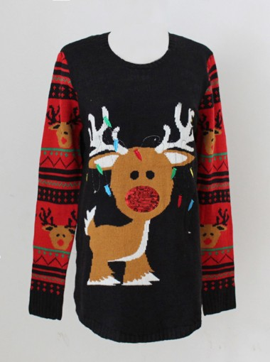 Black Crew Neck Cute Reindeer Printed Womens's Ugly Sweaters