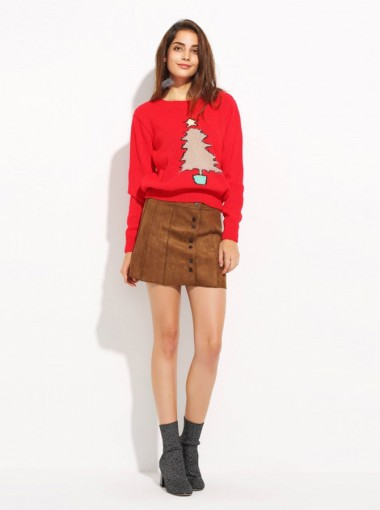 Red Round Neck Tree Printed Cute Chenille Christmas Sweaters