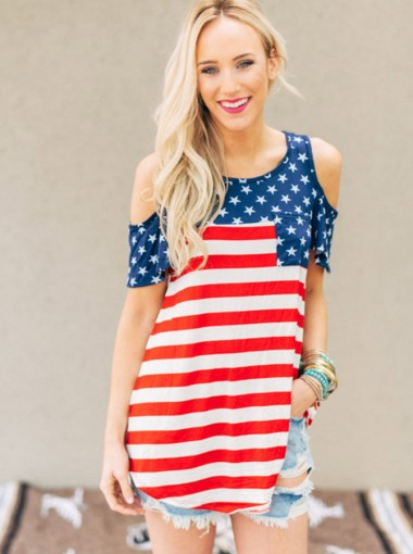 Cold Shoulder American Flag Print Patriotic T-Shirt