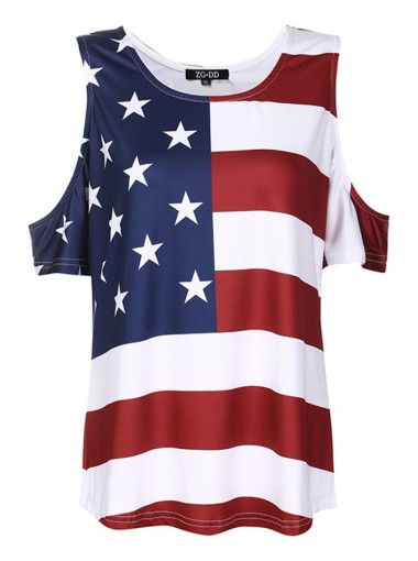 Cold Shoulder Star Striped 4th of July Tee
