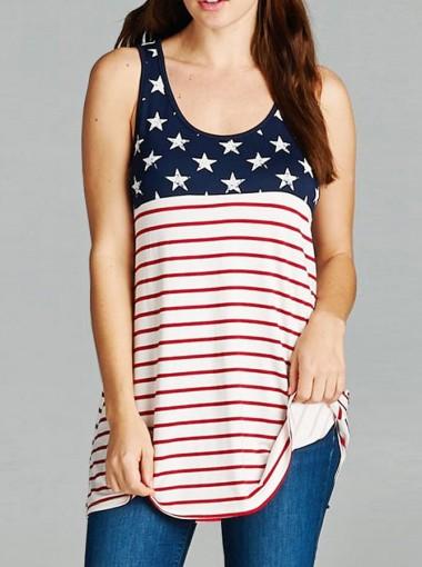 Star Striped Print Patriotic Tank Top