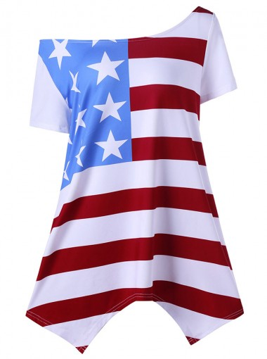 American Flag Oblique Neck July of 4th T-Shirt