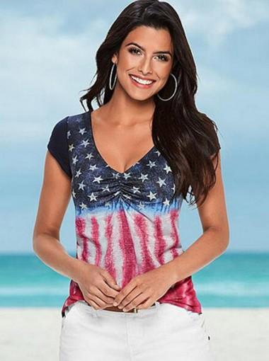 V-Neck Star Striped Print Patriotic T-Shirt