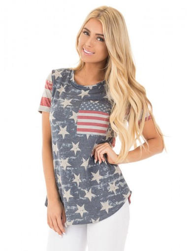 Patchwork Star Striped Print July of 4th Patriotic Tee